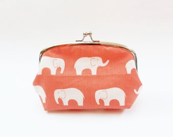 Peach and white cotton elephant fabric cosmetic bag