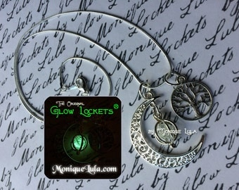 Tree of Life Crescent Moon Glowing Orb Necklace with Free UV Light Charger