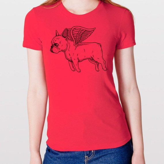 Flying French Bulldog Womens T-Shirt Small, Medium, Large, XL in 7 Colors