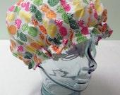 Shower Cap Satin Sleep Bonnet - Retro Vintage Hawaiian Tropical Pineapples Fruit - Rockabilly Bath & Beauty Hat