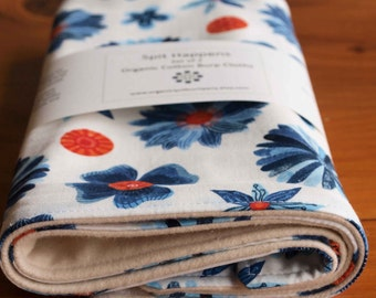 Burping Cloths for Baby Girl; Organic Cotton Burp Cloths; Blue Floral Burp Rags; Gifts for Nursing Mom, New Baby; Handmade in Canada; Blooms
