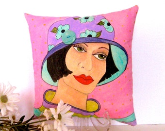 GARDEN LADY PILLOW, hand painted pillow, gift for gardener, pink pillow, vintage button, gift for her, Mother's Day gift, garden lover gift