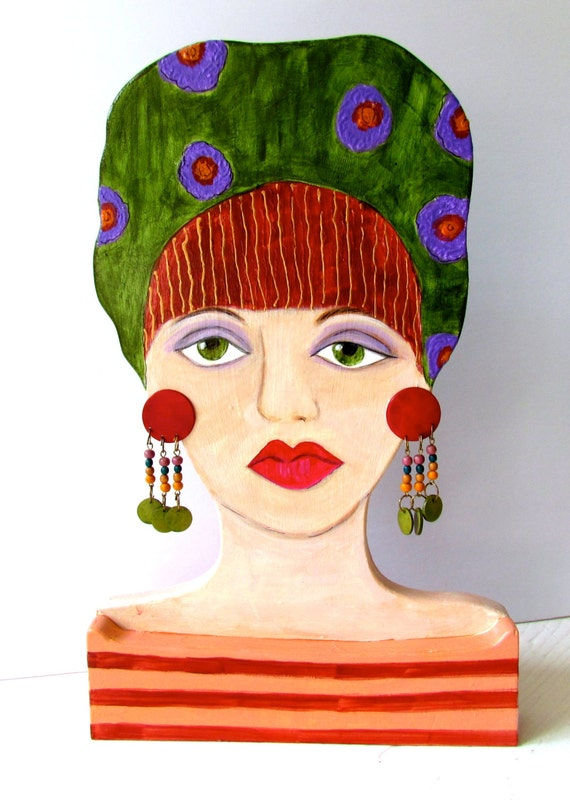 ANNE WOODEN LADY, Handmade, Hand Painted, Red Head Woman, dangling earrings, Ornament, Home Decor, Gift for a Woman, Green, Wood Sculpture