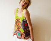 Sixties Hippie Crocheted Retro Multicolor Top