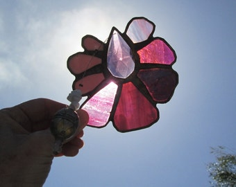 Stained Glass Crystal Flower Mobile Suncatcher - Purple Blade
