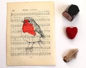 Robin Print, Bird Screen Print on Music Book Page
