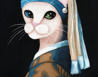 The Cat With The Pearl Earring - Folk Art Print 8x10, 11x14