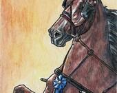 ACEO Saddlebred Fine Harness Horse Original Art Mixed Medium