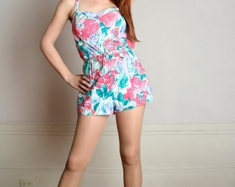 Vintage 1970s Bathing Suit - Floral Garden Party Cotton Romper - Large