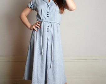 Vintage 1950s Dress - Pale Sky Blue, Black and White Striped Cotton Day Dress - Large