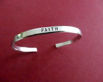 Faith Bracelet - Personalized Bracelet - Faith Cuff Bracelet - 1/5 inch cuff