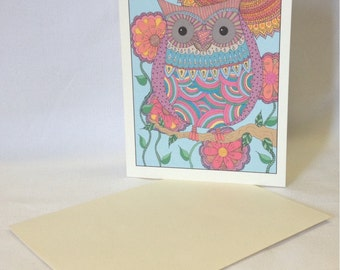 Hand Drawn Whimsical Owl Greeting Cards - Cheery Colorful Owl - Blank - Choose Quantity - With Envelopes