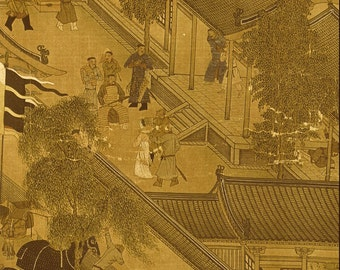Ancient Chinese House and Yard Print - Vintage Chinese Art History Page to Frame or for Paper Arts