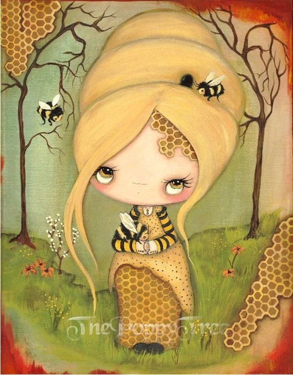 Bee Print Girl Art Honeycomb Honey Forest Save The