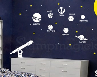 Solar System Wall Decal - Outer Space Theme Planets Vinyl Decor for Children's Room - K219