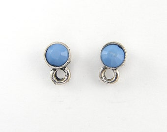Blue Silver Earring Fost Findings, Small Blue Antique Silver Earring Stud, Post with Loop Jewelry Supply |B11-1|2