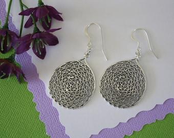 Sterling Silver Earrings, Filigree, Charm Earrings, Web, Hoop Earrings, Silver Web