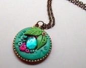 Turquoise Garden Pendant Necklace, Handmade