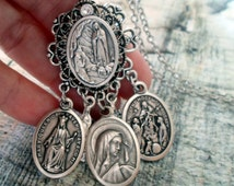 Spectacular Mother Mary Necklace, Our Lady of Sorrows, Queen of Heaven, Our Lady of the Rosary, Lourdes, Virgin Mary, Catholic Jewelry