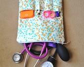 NURSING PURSE / AnyCase - nurse organizer stethoscope travel case in mint and gold confetti (for nurses, teachers, students, moms, kids)