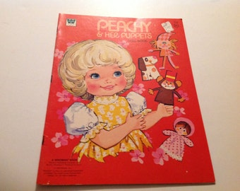 Vintage New 1974 Peachy and Her Puppets Paper Doll Book #1966