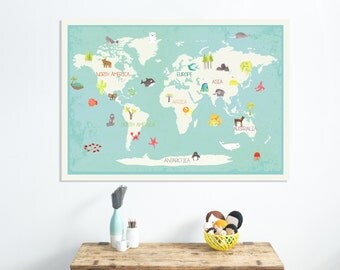 Our Earth Interactive World Map Wall Art With Stickers, 36x24, Kid's Animal World Map, Gender Neutral Nursery, Children