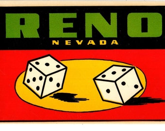 Water Transfer Decal RENO NEVADA Pair of Lucky Dice