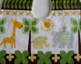 Giraffe Elephant Jungle Animal Bib