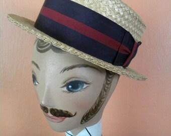 Vintage 1940's Boater Hat Straw with Ribbon Band Barber Shop Quartet Size Seven