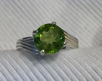 Natural Peridot Sterling Silver Ring