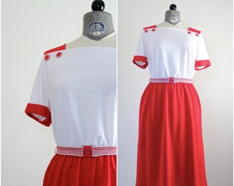 Red Striped Sailor Dress • Nautical Dress • 1980s Dress • Colorblock Dress • Vintage Sailor Dress • 1980s Dress • 1980s Day Dress • Sundress