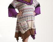 3X Plus Size Upcycled Dress/ Bohemian Lagenlook Tunic/Purple-Beige-Black/ brendaabdullah