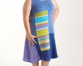 SALE: Size XL Color Block Knit Dress/ Lilac-Purple Upcycled Sleeveless Dress/brendaabdullah