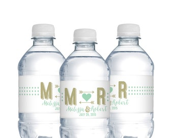 wedding water bottle labelswedding monogrampolka dotswaterproof labels wedding welcome