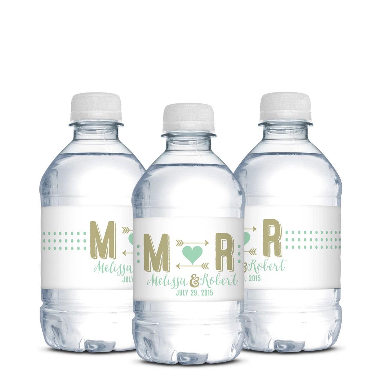 wedding water bottle labelswedding monogrampolka