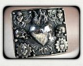 SKULL GARDEN -Large Handmade Sterling Silver- Flaming Heart Belt Buckle - OOAK