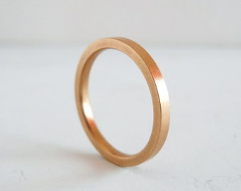 2mm Rose Gold Wedding Band | READY TO SHIP in size 6-6.5 | Flat Edge Wedding Band | Women's flat stacking band | Hammer Texture or Smooth