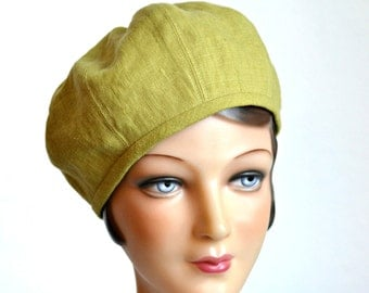 Beret in Cilantro Linen - Made to Order in Your Size