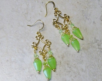 Gold Filigree Chandelier Beaded Earrings, Apple Green Crystal Bead Earrings, Gold Beaded Earrings, Green Earrings, Victorian