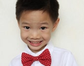 Red Polkadot Clip-On Bow Tie