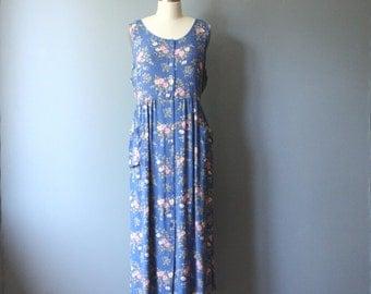 90s floral dress / empire waist dress / maxi dress
