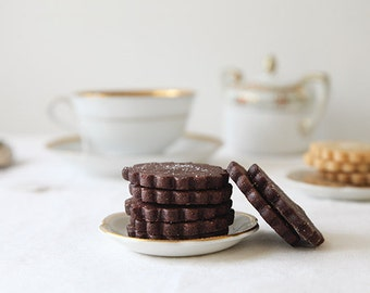 Chocolate cardamom orange shortbread cookies, chocolate shortbread, gourmet tea cookies
