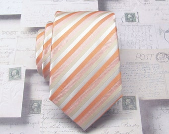 Peach Mens Ties. Narrow Ties. Peach Dusty Gold Cream Stripes Mens Narrow Necktie with Matching Pocket Square Option. Wedding Ties.