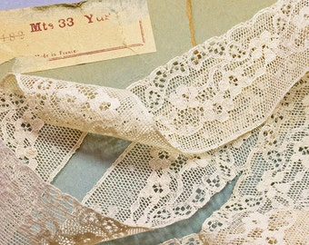 Antique Ecru Valenciennes Lace,Unused French Machine Made Lace.Edwardian Floral  Lace, Early 20th Cent Lace 1yd