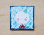 Small illustrated tile Birthday girl(mixed media)