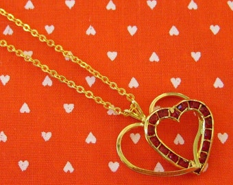 Beautiful Red Crystal Open Heart Pendant Necklace