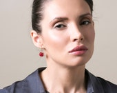 Ruby Earrings , Deep Red Swarovski Crystal Earrings , Delicate Handmade Wire Crochet , Gold Knitted Fashion Jewelry
