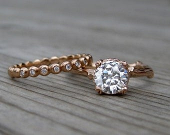 Moissanite Twig Engagement & Wedding Ring Set: 1ct Forever Brilliant ™ and Diamond Seedling Band