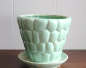 Vintage small green ceramic planter