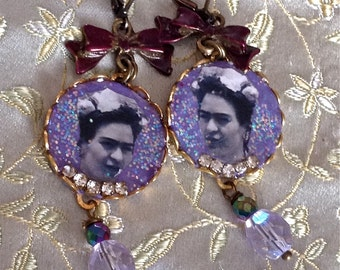 Lilygrace Frida Violet Cameo Earrings with Vintage Rhinestones and Vintage Glass Beads